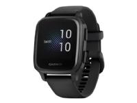 Garmin Venu Sq Music Edition - Sort - sportsur med bånd - silikone - sort - håndledsstørrelse: 125-190 mm - display 1.3 - Bluetooth, Wi-Fi, NFC, ANT
