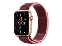 Apple Watch SE (GPS + Cellular) - 44 mm - guldaluminium - smart ur med sportsløkke - vævet nylon - blomme - håndledsstørrelse: 145-220 mm - 32 GB - W