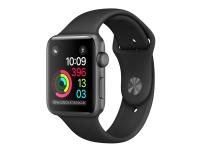 Apple Watch Series 1 - 38 mm - rumgråt aluminium - smart ur med sportsbånd - fluoroelastomer - sort - båndstørrelse: S/M/L - Wi-Fi, Bluetooth - 25 g