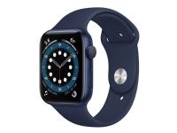 Apple Watch Series 6 (GPS + Cellular) - 44 mm - blå aluminium - smart ur med sportsbånd - fluoroelastomer - dyb marine - båndstørrelse: S/M/L - 32 GB