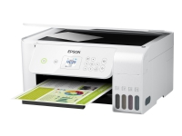 Epson EcoTank ET-2726 - Multifunktionsprinter - farve - blækprinter - refillable - A4/Legal (medie) - op til 10 spm (udskriver) - USB, Wi-Fi - hvid