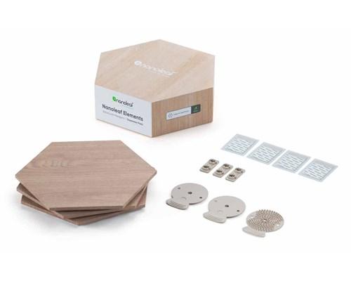 Nanoleaf Elements Wood Lock Hexagones Tilbygningspakke Med 3 Paneler