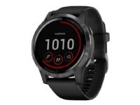 Garmin vívoactive 4 - 45 mm - sort - sportsur med bånd - silikone - sort - håndledsstørrelse: 135-200 mm - display 1.3 - Bluetooth, Wi-Fi, NFC, ANT+