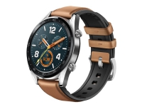 Huawei Watch GT Classic - 46.5 mm - rustfrit stål - smart ur med rem - læder/silikone - sadelbrun - håndledsstørrelse: 140-210 mm - display 1.39 - 1
