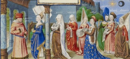 Coëtivy Master, Philosophy Presenting the Seven Liberal Arts to Boethius, c. 1460-75, Tempera colors, gold leaf, and gold paint on parchment, 17 x 6 cm (The J. Paul Getty Museum)
