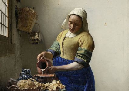 Johannes Vermeer, The Milkmaid,c. 1660, oil on canvas, h 45.5cm × w 41cm (Rijksmuseum)