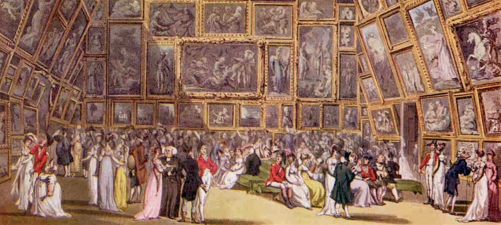The Exhibition Room_at Somerset House by Thomas Rowlandson and Augustus Pugin 1800.