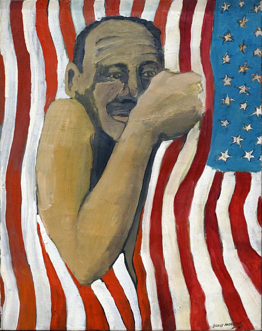 Benny Andrews, Flag Day, 1966, oil on canvas, 53.3 x 40.6 cm ©The Benny Andrews Estate (The Art Institute of Chicago) (photo: Dr. Steven Zucker)