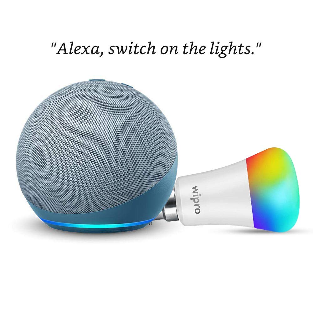 Echo Dot (4th Gen, Blue) Combo with Wipro 9W LED