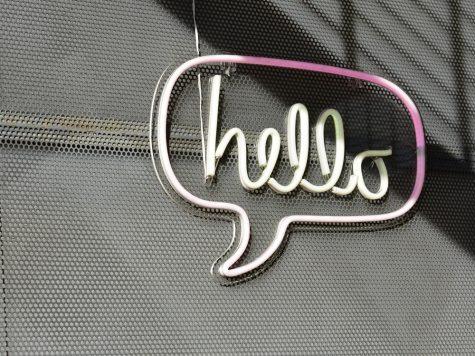 digital marketing platform hello on wall neon