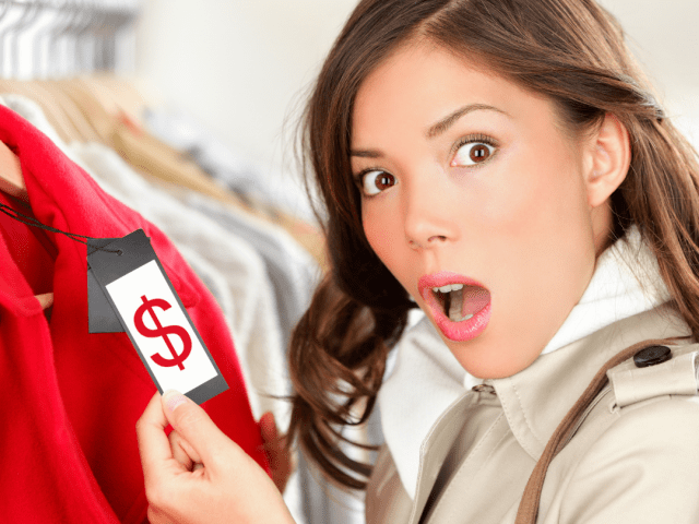 lady making shocked look at a price tag. Think hard about your pricing