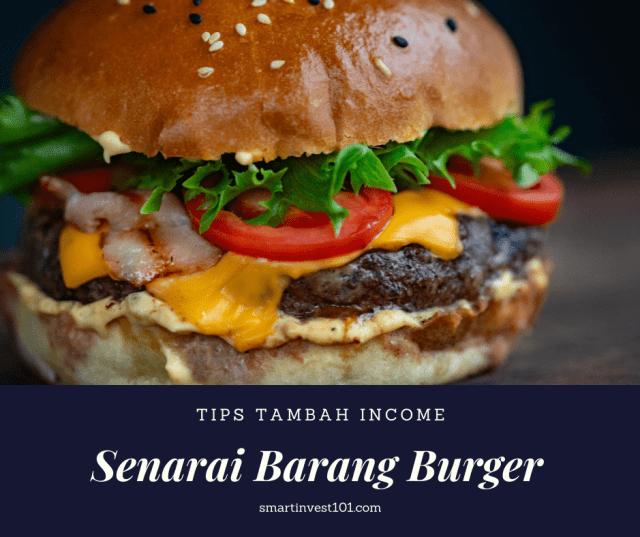 senarai barang burger