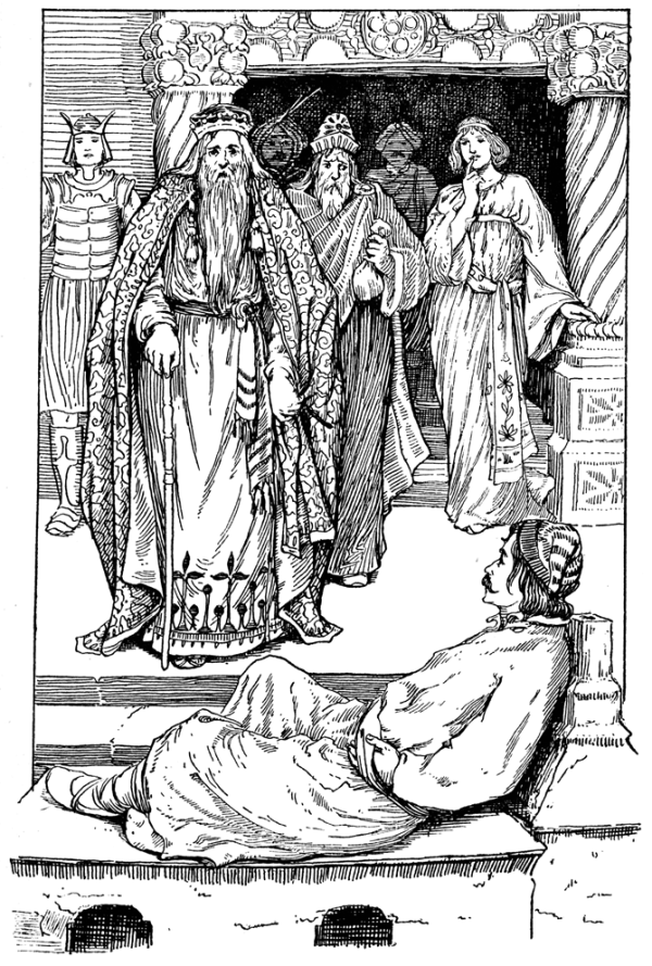 A king and courtiers confront a man lying on a divan.