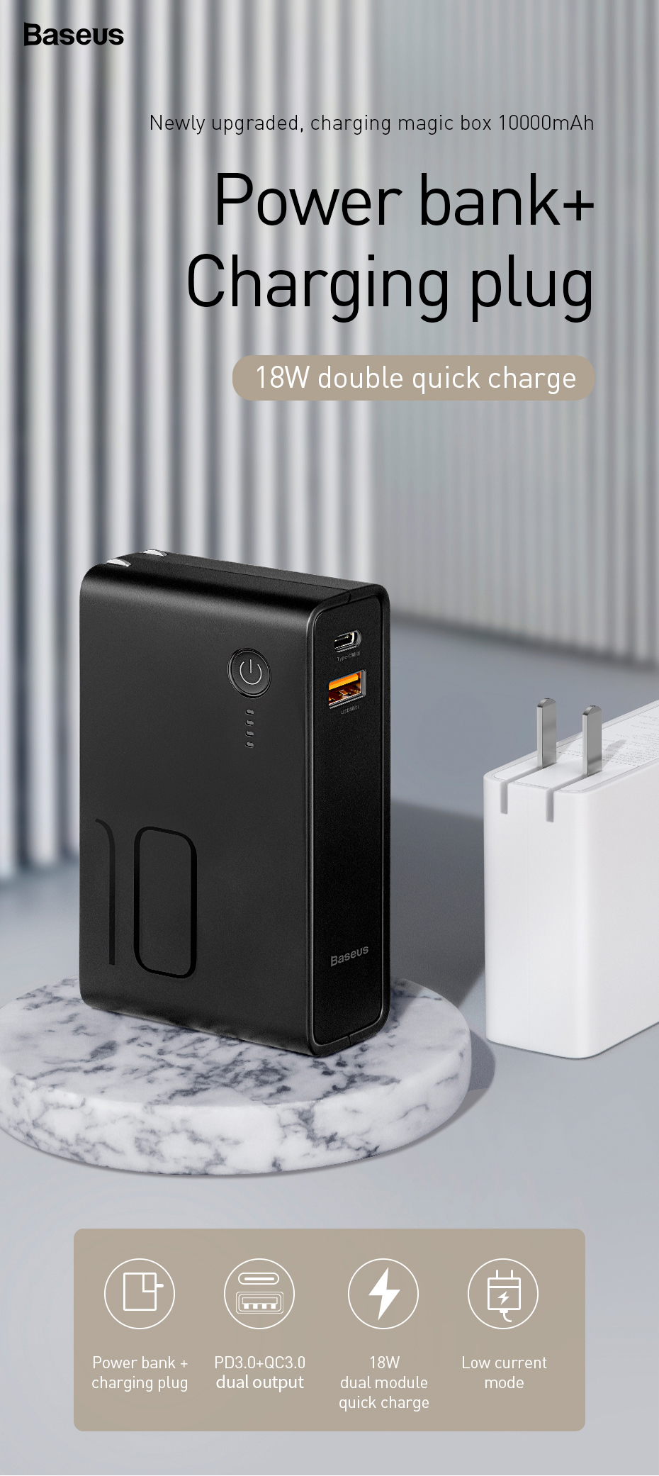 Power station 2*1 Wall Charger + 10,000mAh Power Bank 18w QC3.0 + ...