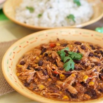 Crock-Pot Southwest Chicken Chili and Cilantro Lime Rice