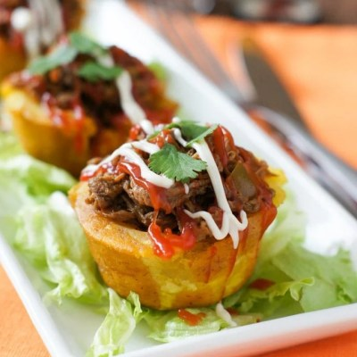 Stuffed Plantain Cups (Tostones Rellenos)
