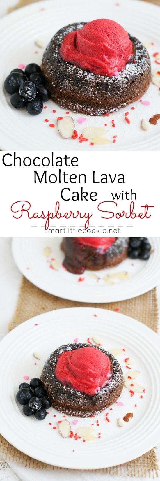 Rich, dense and fudgy, this chocolate molten lava cake topped with a sweet and refreshing raspberry sorbet is the perfect dessert to enjoy any day.