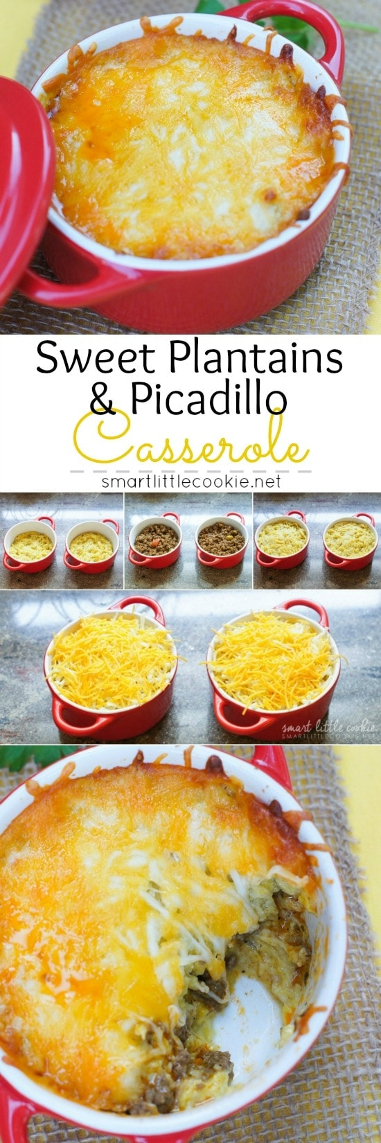 Sweet Plantains and Picadillo Casserole ~ Layers of mashed sweet ripe plantains with a filling of savory picadillo - a Latin dish of ground meat, tomatoes, and spices - make this dish a delicious and easy dinner.