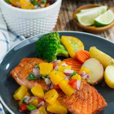 Pan-Seared Salmon with Peach Salsa