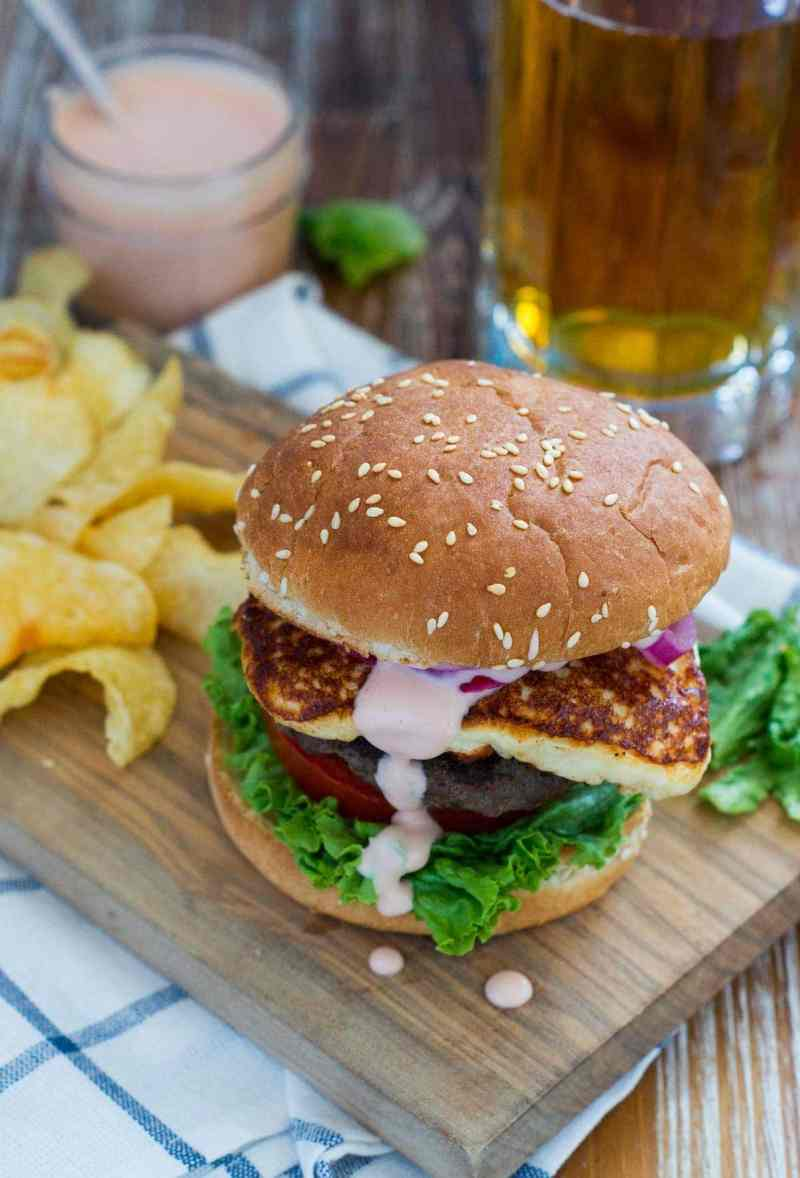Queso Frito Burger ~ Thick, juicy burger with lettuce, tomato, pickled onions, a beautiful slice of queso frito and a good slather of mayo-ketchup sauce. #burger #Summer smartlittlecookie.net