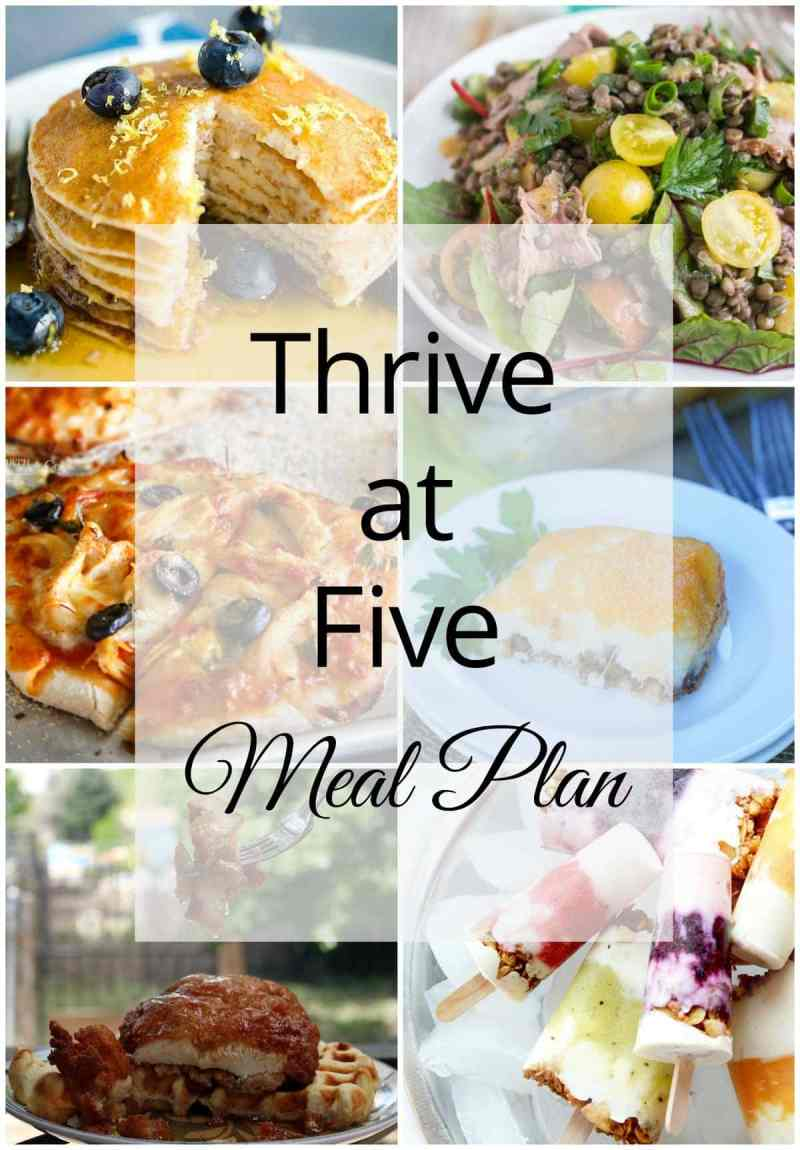 Thrive at Five Meal Plan – Week #29 ~ A weekly meal plan for busy parents. This week's meal plan features a Hawaiian Chicken Sheet Pan Dinner, a Lentil and Roast Beef Salad, Chicken 'n' Waffles, Mini Chicken Basil Thin Crust Pizza, Mashed Potatoes and Beef Casserole, Low Carb Ricotta Pancakes, and yummy Fruity Yogurt Parfait Popsicles.