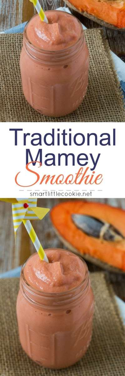 Traditional Mamey Smoothie ~ A sweet and refreshing tropical smoothie made with Mamey (Zapote) fruit, milk, vanilla, sugar, and cinnamon. Just like abuelaused to make! #tropicalfruit #smoothie