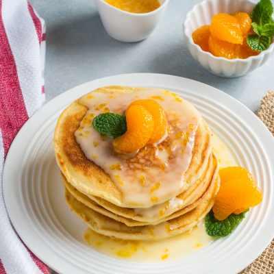Mascarpone Pancakes with Mandarin Glaze