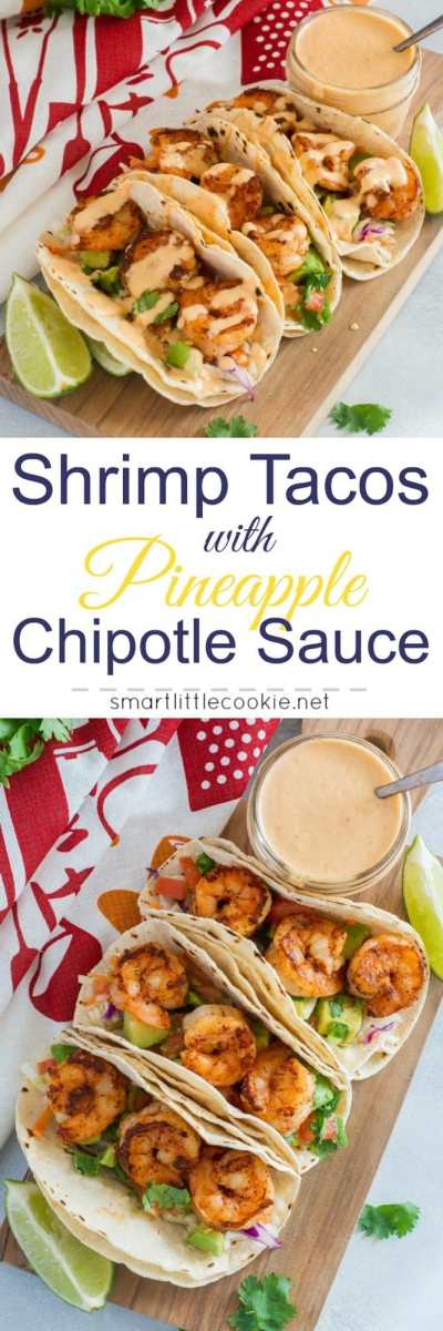 Easy Shrimp Tacos with Pineapple Chipotle Sauce ~ Made with saute shrimp, slaw, avocado, tomato-jalapeño salsa, and topped with a pineapple chipotle sauce. These shrimp tacos are a fast and flavorful weeknight dinner with a sweet and spicy kick.#ad #vidadole