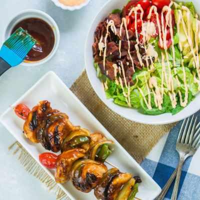 Sweet Honey BBQ Chicken Skewers with BLT Avocado Salad