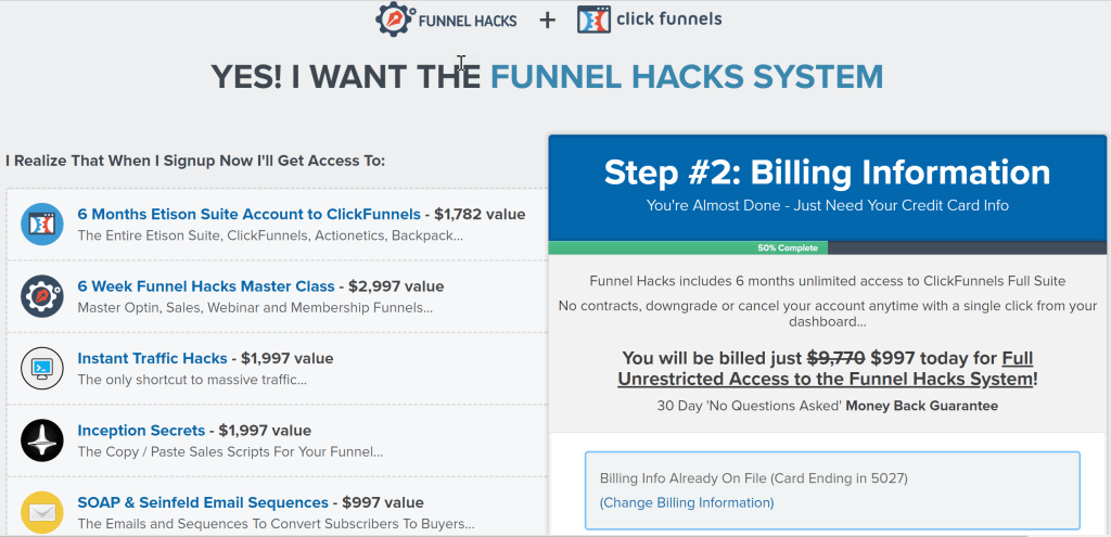Funnel Hacks System is a training program bundled with a 6-month access to a full ClickFunnels suite including such bonuses as Inception Secrets, Traffic Hacks, Funnel Hacks Masterclass, Soap and Seinfeld Email Sequences.