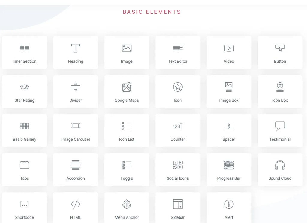 Elementor WordPress page builder plugin has over 30 free elements to build pages and posts