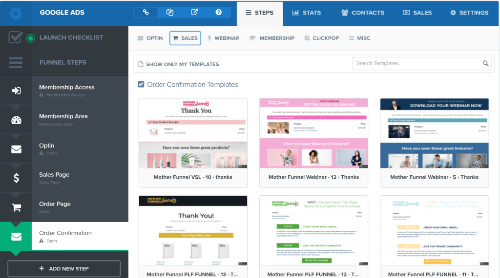 Order Confirmation Form Template In ClickFunnels