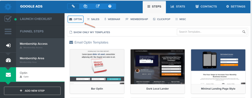 How to add an Optin page in Clickfunnels to build a landing page