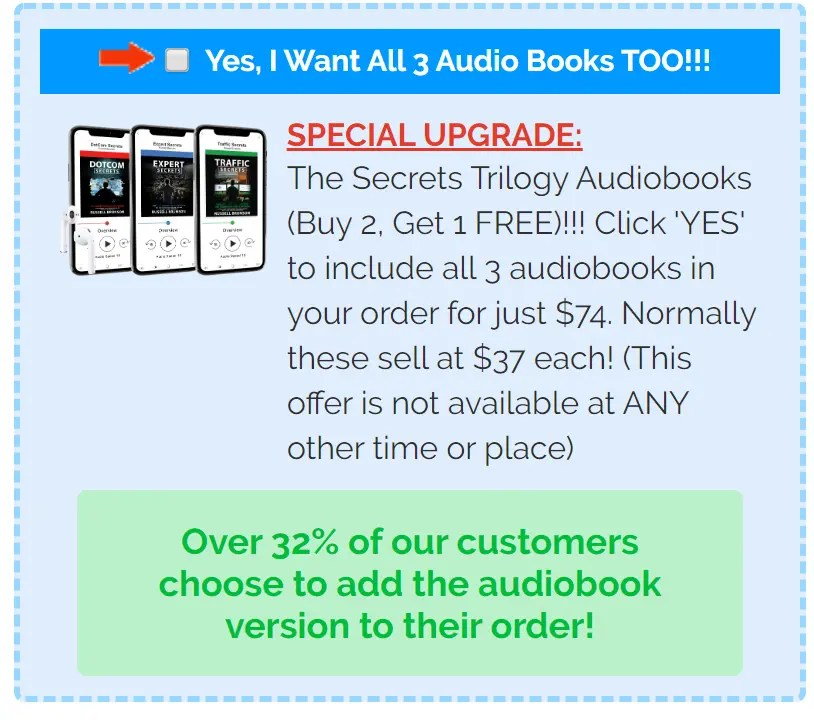 Secrets Trilogy Audiobooks by Russell Brunson has Expert Secrets, DotCom Secrets & Traffic Secrets
