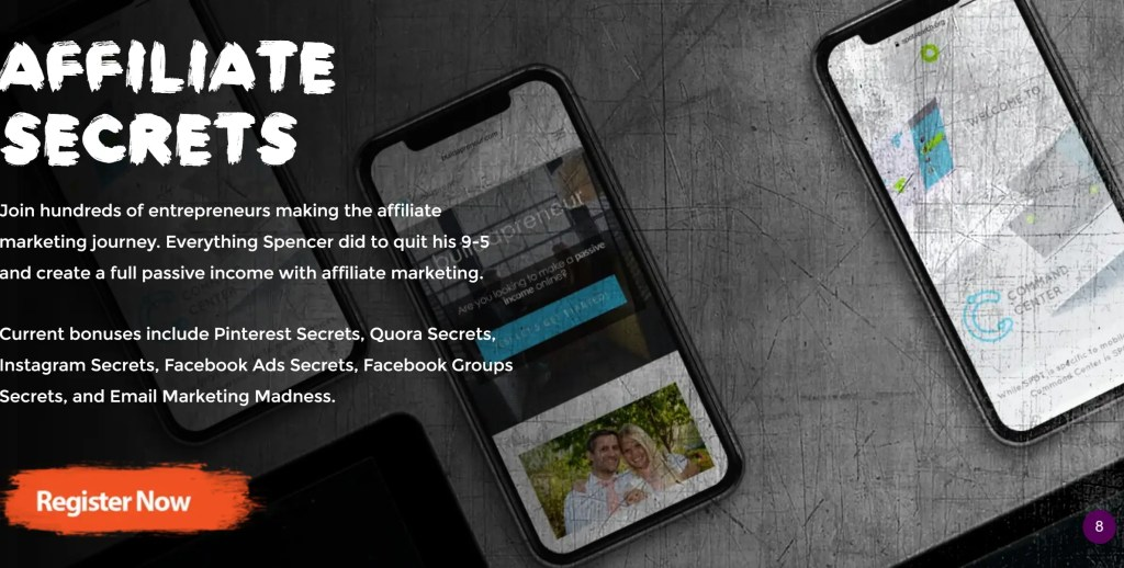 Affiliate Secrets is Spencer Mecham's affiliate marketing course of 8 modules with a comprehensive separate Traffic Section #affiliatesecrets #spencermecham #affiliatemarketing #buildapreneur