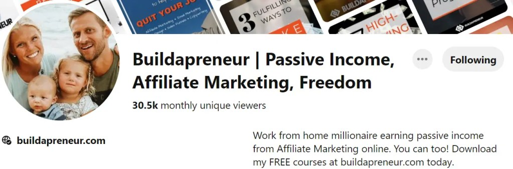 Buildapreneur Pinterest is Spencer Mecham's Affiliate Marketing brand on Pinterest also with free courses, YouTube channel, social media and Affiliate Secrets 2.0