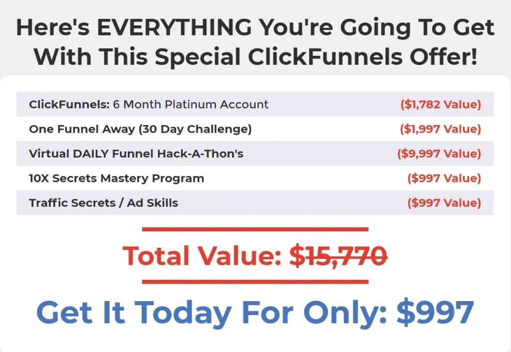 Secrets Masterclass is a training program that combines 6 months of ClickFunnels Platinum with the Secrets Workshop Bundle bonuses.