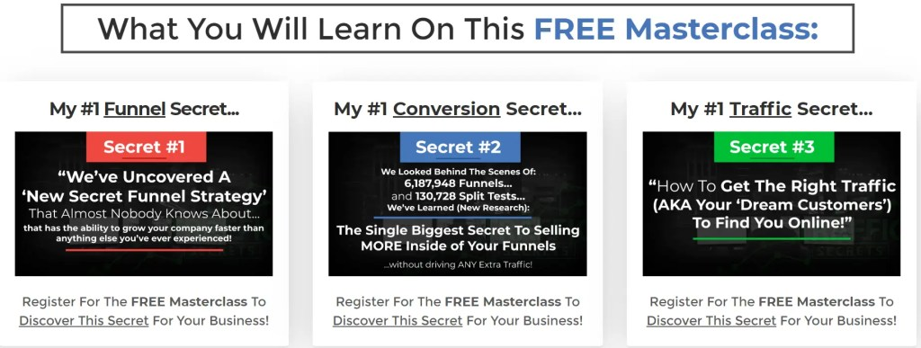 Secrets Masterclass Webinar is a webclass where Russell Brunson teaches the secrets behind the sales funnels of ClickFunnel Two Comma Club award winners
