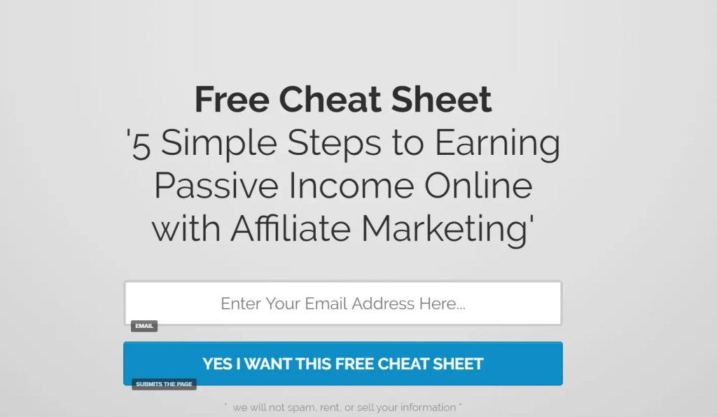 Affiliate Marketing For Beginners. Example of landing page with lead magnet to build affiliate sales funnel with a bridge or preframe page