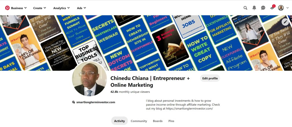 Pinterest Profile for Chinedu Chiana, Entrepreneur. Online and Affiliate Marketing Expert