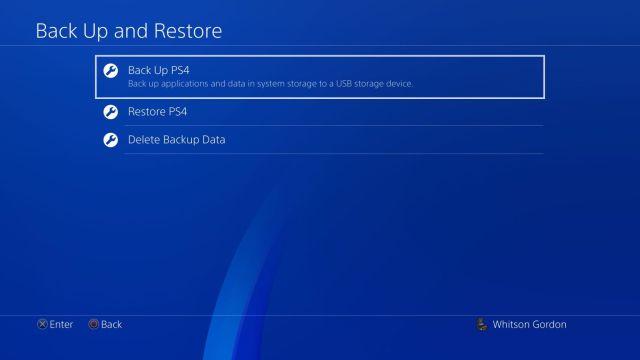 Резервно копие на PS4
