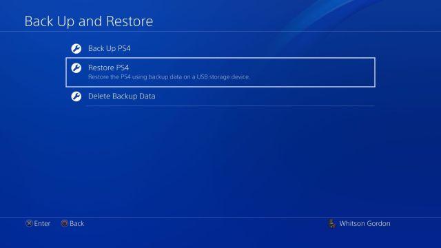 Възстановяване на резервно копие на PS4