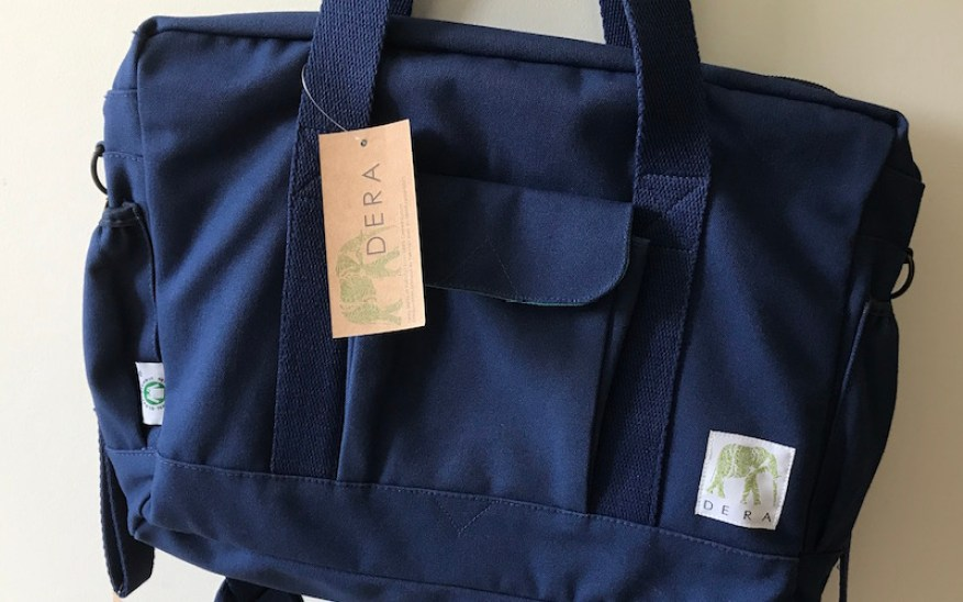 Blue canvas diaper bag from Dera Designs