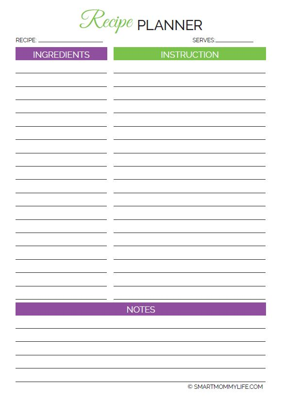 A recipe card template that comes with the Free weekly printable planner to write down those delicious recipes.