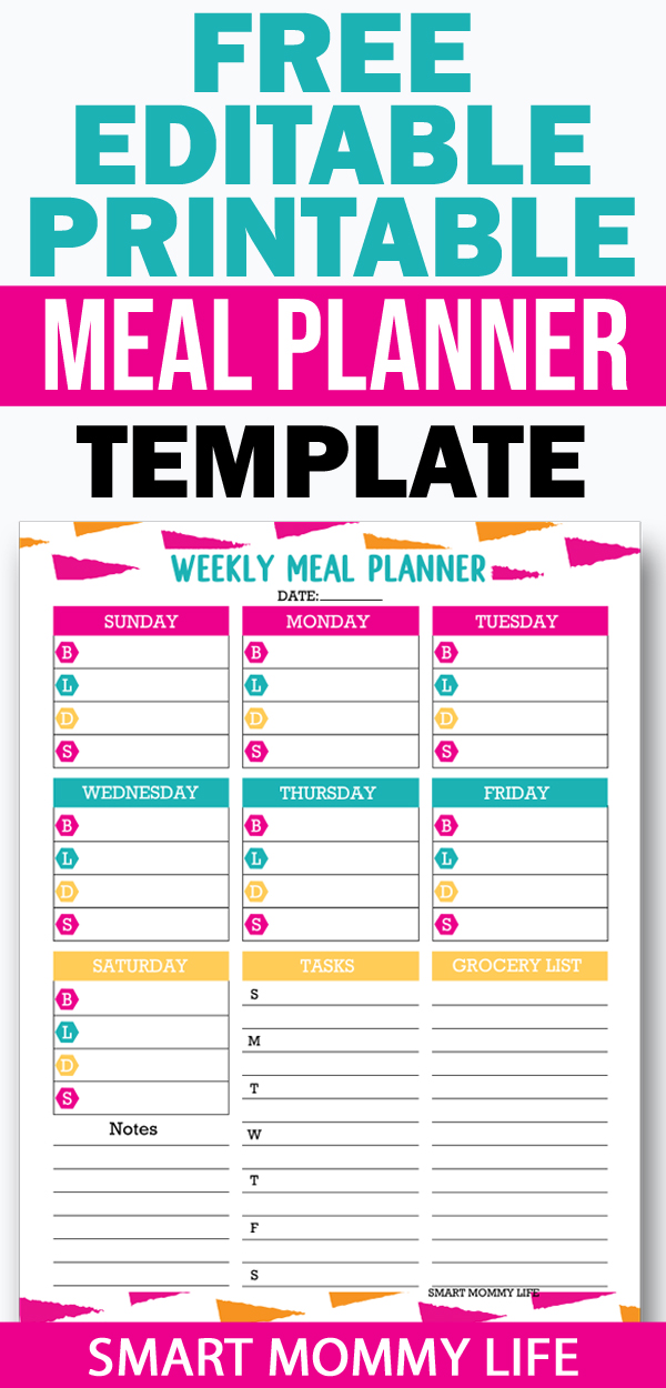 free editable printable meal planning template