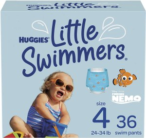 huggies little swimmers - disposable swim diapers, size 4, size medium, 36 carats