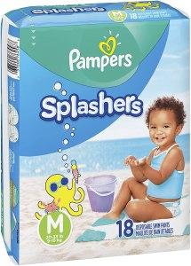 pampers splashers - swim diapers, size m, 18 pcs