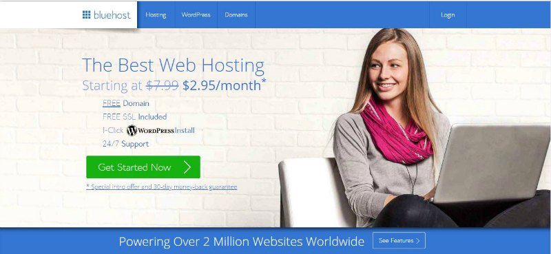 Bluehost best web hosting welcome image