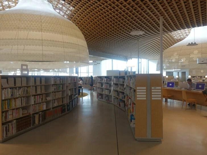 グローブを囲むように設置された本棚