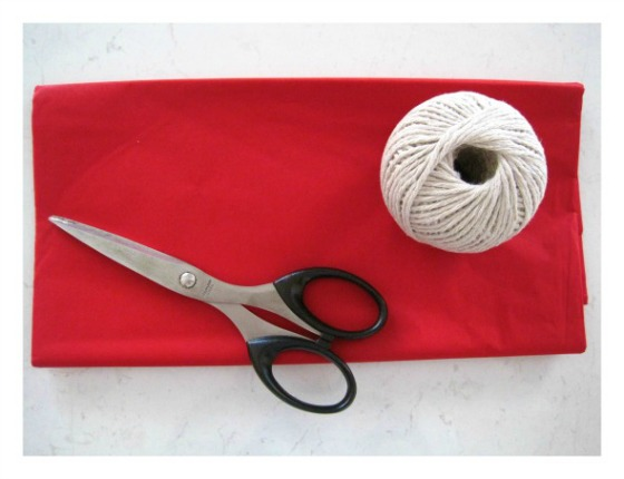 Items required to make a tissue paper pom pom